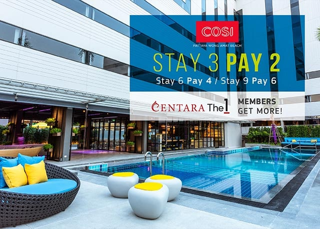Free night offer at COSI Pattaya